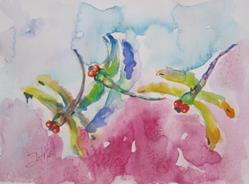Art: Three Dragonflies and Pink Clouds by Artist Delilah Smith