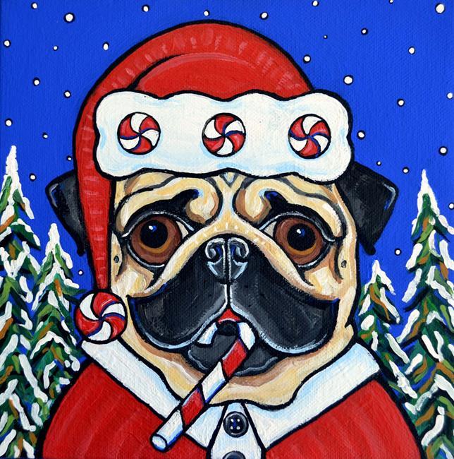 Art: Santa Puggie by Artist Melinda Dalke