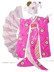 Art: Geisha Barbie (Portrait of Whimsical Geisha Girl) by Artist Jayne Somogy