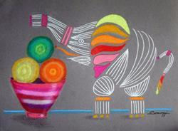 Art: Apples & Oranges & Elephants, Oh My by Artist Jayne Somogy