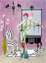 Art: Erte'-esque (Art Deco Interior w/ Fashion Illustration) by Artist Jayne Somogy