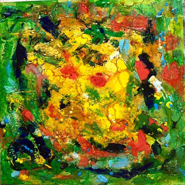 Art: Encaustic Abstract by Artist Ulrike 'Ricky' Martin