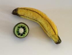 Art: Needle Felted Banana and Kiwi by Artist Ulrike 'Ricky' Martin
