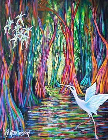 Art: Rainbow Eucalyptus Trees SunDown by Artist Ke Robinson