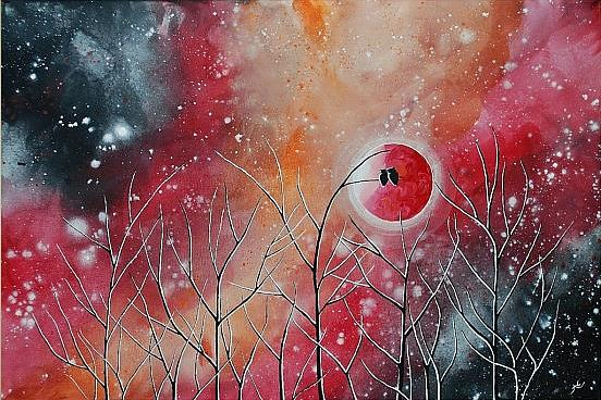 Art: Crimson Owl Nights (sold) by Artist Amber Elizabeth Lamoreaux