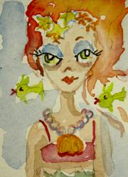 Art: Mermaid and Fish-sold by Artist Delilah Smith