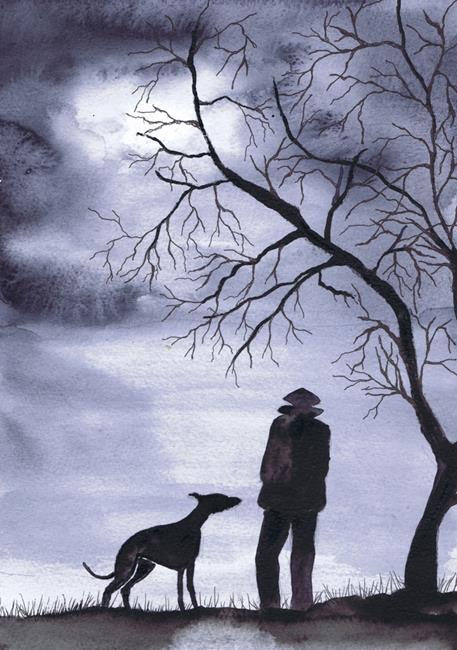 Art: GREYHOUND WALK g707 by Artist Dawn Barker