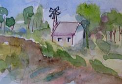 Art: Farm House and Windmill by Artist Delilah Smith