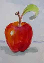 Art: Red Apple Aceo by Artist Delilah Smith