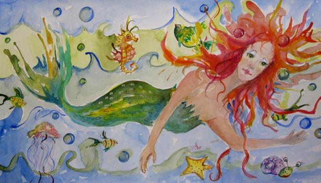 Art: Playful Mermaid-sold by Artist Delilah Smith