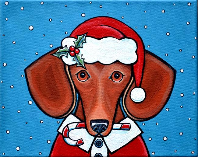 Art: Santa Doxie Claus by Artist Melinda Dalke