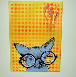 Art: EYE Chihuaha II Near Sighted, Dog Original Pop Art Graffiti Art by Artist Paul Lake, Lucky Studios