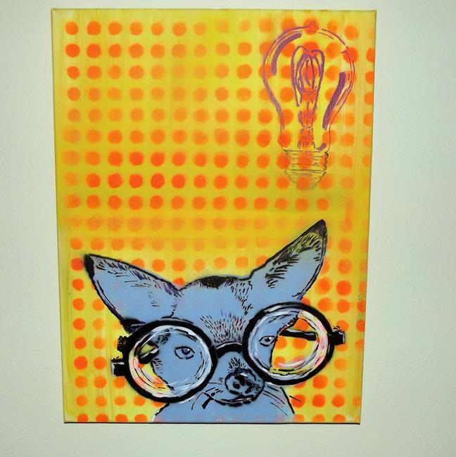 Art: EYE Chihuaha II Near Sighted, Dog Original Pop Art Graffiti Art by Artist Paul Lake, Lucky Studios