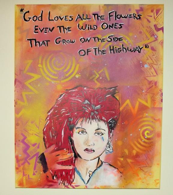 Art: Cyndi Lauper  God Love All Flowers  Original Pop Graffiti Art by Artist Paul Lake, Lucky Studios