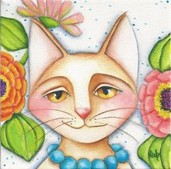 Art: Feline And Zinnias by Artist Deb Harvey
