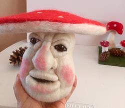 Art: Needle Felted Fairie Forest Mushroom  Head by Artist Ulrike 'Ricky' Martin