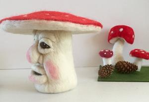 Detail Image for art Needle Felted Fairie Forest Mushroom  Head