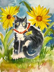 Art: BW and Sunflower by Artist Delilah Smith