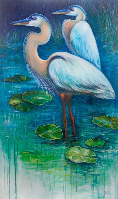 Art: SERENITY GREAT BLUE HERONS of FLORIDA by Artist Marcia Baldwin