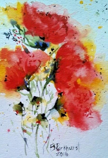 Art: Big Expressive Poppies Sold by Artist Bonnie Pankhurst