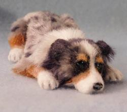 Art: Silk Furred Blue Merle Aussie by Artist Camille Meeker Turner