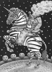Art: SLEEPY HOLLOW CIRCUS Gray Scale by Artist Susan Brack