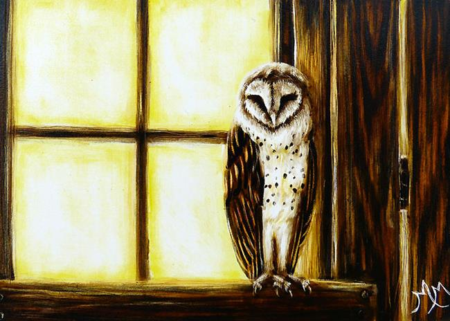 Art: Barn Owl  (SOLD) by Artist Monique Morin Matson