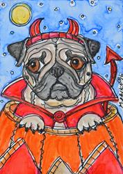 Art: Devilish Pug by Artist Melinda Dalke