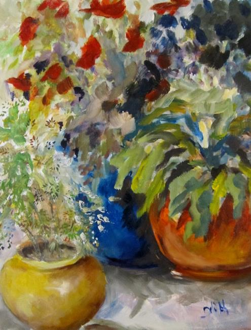 Art: Pots of Flowers by Artist Delilah Smith