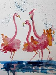 Art: Fluffy Pink Flamingos by Artist Delilah Smith