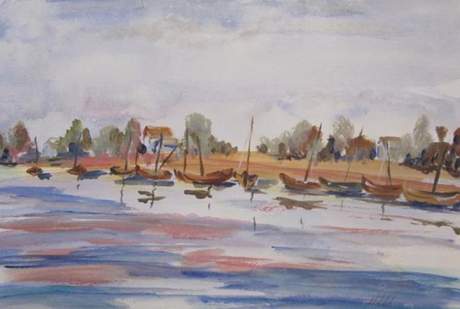 Art: Boats in the Bay by Artist Delilah Smith