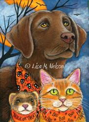 Art: Dog Cat & Ferret Halloween Trio ACEO by Artist Lisa M. Nelson