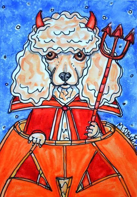 Art: Devilish Poodle Pumpkin by Artist Melinda Dalke