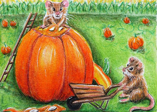 Art: Harvesting Pumpkin Seeds (SOLD) by Artist Monique Morin Matson