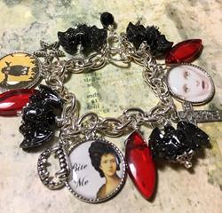Art: Vampiress , Halloween Altered art charm bracelet by Artist Lisa  Wiktorek
