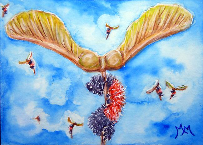 Art: Helicoptering Woolly Worms  (SOLD) by Artist Monique Morin Matson