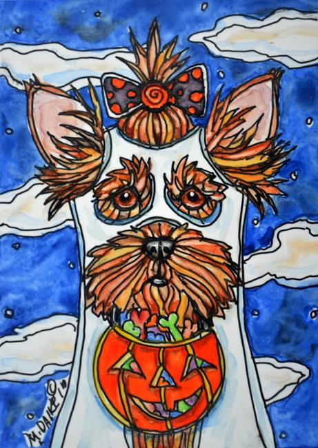 Art: Ghostly Yorkie with Bow by Artist Melinda Dalke