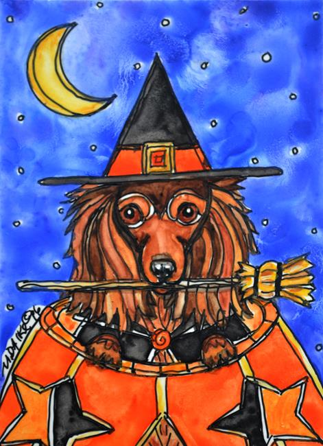 Art: Witchy Doxie with Broom by Artist Melinda Dalke