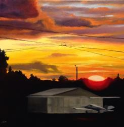 Art: Airport Sunset by Artist Christine E. S. Code ~CES~