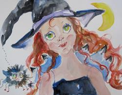 Art: Witch and Spider by Artist Delilah Smith