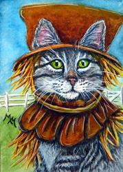Art: Scarecrow Tabby  (SOLD) by Artist Monique Morin Matson