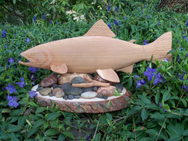 Art: Cedar Steelhead Carving by Leonard G. Collins by Artist Leonard G. Collins