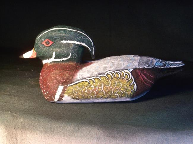 Art: Wood Duck carving by Leonard. Collins by Artist Leonard G. Collins