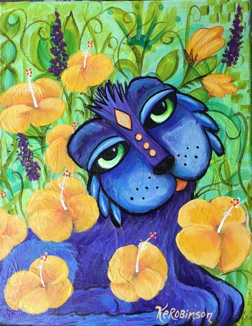 Art: #1363 GARDEN CAT by Artist Ke Robinson