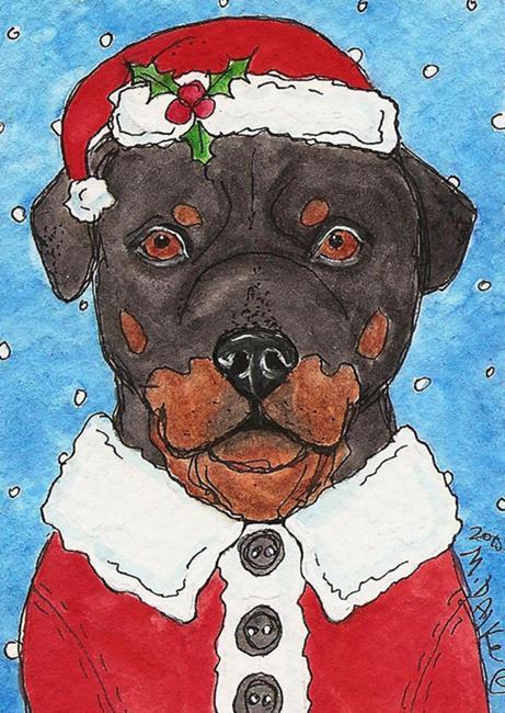 Art: Santa Rottie by Artist Melinda Dalke