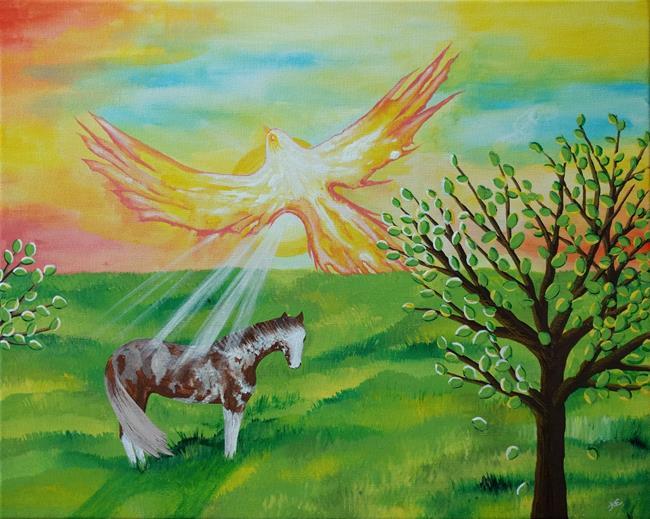 Art: Phoenix Soaring (sold) by Artist Amber Elizabeth Lamoreaux