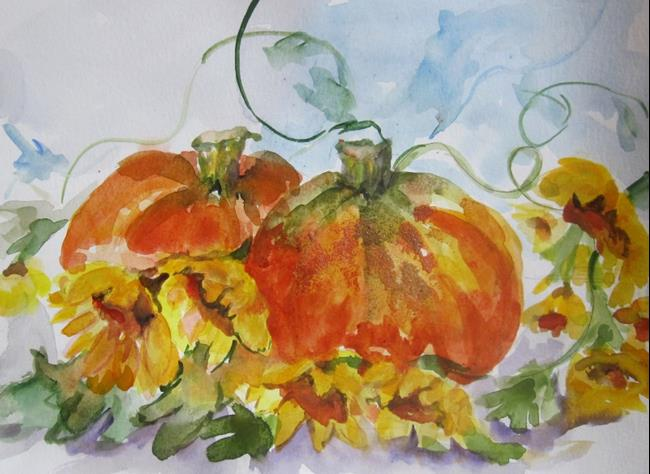 Art: Pumpkins and Sunflowers by Artist Delilah Smith