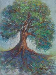 Art: EVERGREEN STORM TREE of LIFE Pastel by Artist Marcia Baldwin