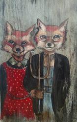 Art: American Gothic Foxes by Artist Chris Jeanguenat