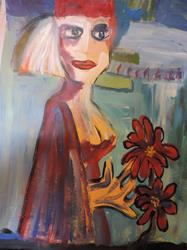 Art: red flowers by Artist Nancy Denommee